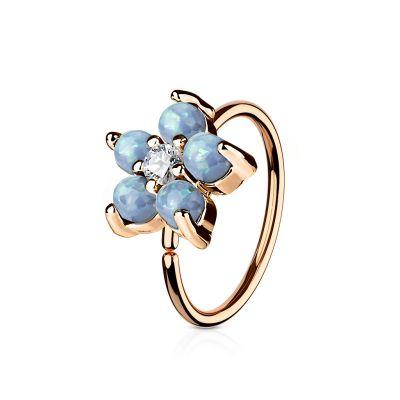 Aro con flor de opalitas